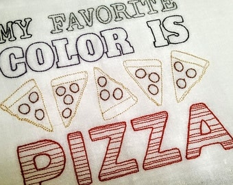 My favorite color is PIZZA Embroidered Cotton Dish Towel - Genuine Flour Sack Towel