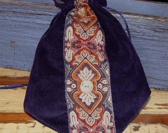 Purse, Handbag, Reticule, Boho, Drawstring Pouch, Navy & Rust
