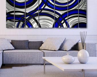 Extra Large Modern Metal Wall Art in Blue, Black & SIlver, Multi Panel Metal Wall Sculpture Decor  - Crossroads Blue XL by Jon Allen