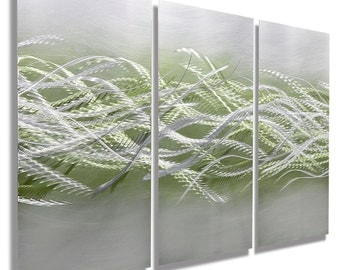 NEW! Silver & Green Abstract Metal Painting - Modern Metal Wall Art - Home Decor - Wall Hanging - Blades of Spring 3 by Jon Allen