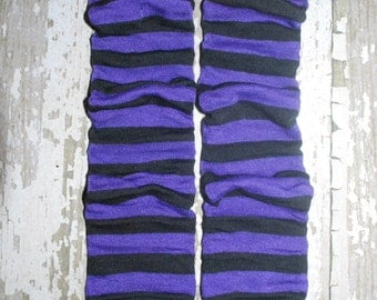 purple, black, stripes, girl leg warmers, baby leg warmers, toddler leggings, leg warmers, ballet, ballerina, baby clothes, witch costume