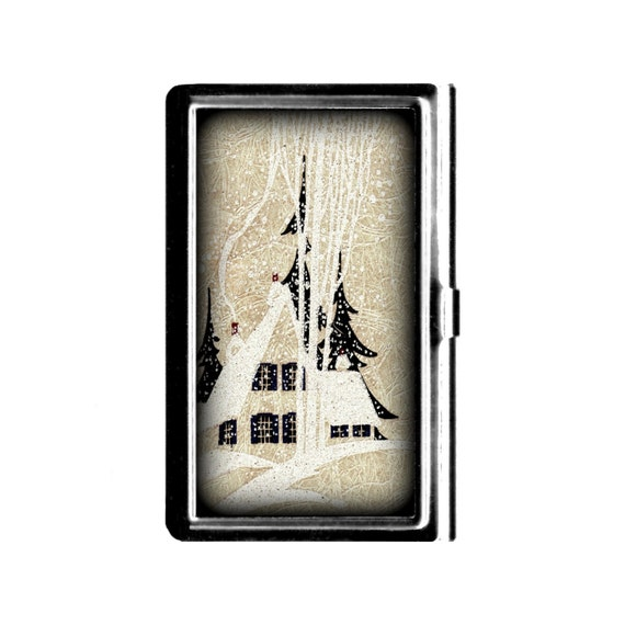 Home in the snow vintage art business card case credit card like this item reheart Gallery