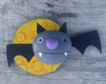 halloween...ornament...flying bat and moon