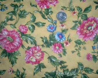 Quilt Fabric Destash Pink Blue Flowers on Yellow By the Half Yard