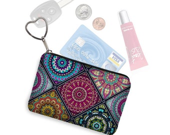 Small Zipper Pouch Coin Purse Keychain Key Fob Boho Business Card Holder Colorful Bohemian Mandala purple blue orange  fabric RTS