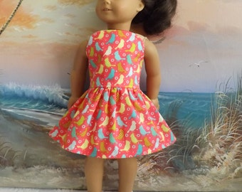 American Girl Doll Dress Handmade Colorful Birds on a Coral Background Strapless Medley NEW
