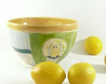 Handmade Decorative Artistic Ceramic bowl with owl for soup salad dessert pottery and ceramics, serving dish 487