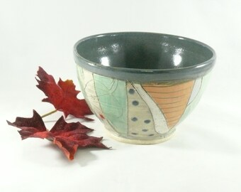Green Pottery Bowl, Decorative Ceramic Bowl, Handmade Soup Bowl, Salad Bowl, pottery and ceramics, Kitchen Decor, Dorm Room 511