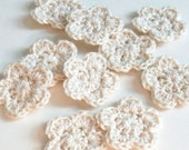 Mini Crochet Flower Applique, Ecru Crochet Flower Embellishment, Scrapbooking, Miniature Flower, Crochet Flower Motif