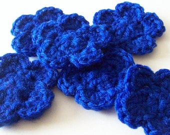 Crochet Flower Appliques, Crochet Flower Embellishment, Blue Crochet Flower, Set of 6, Crochet Flower Motif