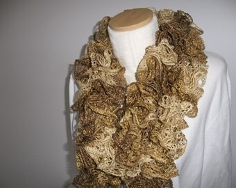 Gold Knit scarf - Ruffle Scarf - Womens Accessory - Handmade Scarf - Gift for Her - Fashion Scarf