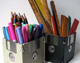 3.5 Inch Floppy Disk - Black - Container - Pencil Cup - Planter - Upcycled - Reused Materials - Inexpensive Gift - Coworker - Stocking Item