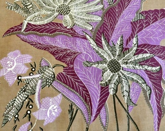 Dutch Print Fabric Java Batik Purple Lavender Black Brown 2 pcs Sewing Fabric