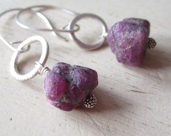 Ruby Sterling Silver Earrings - Circles - Metaliferious - Rough Cut - Etsy - Jewelry - pink ball - catROCKS - luxe - Grace and frankie lily