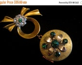 ON SALE Emerald Isle - Vintage Green Rhinestone Locket Brooch