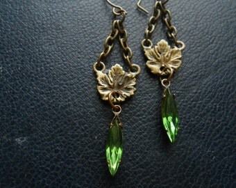 the weeping woods - art nouveau leaves chandelier rhinestone earrings - woodsy forest fae fairy occult boho inspired jewelry