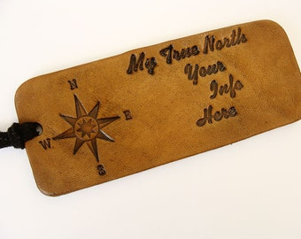Personalized Luggage Tag Leather Compass