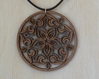 Small Flower Filigree Wood Necklace