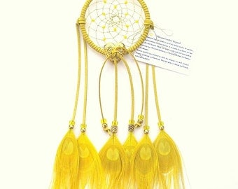 Yellow Dream Catcher, Peacock Eyes Feathers