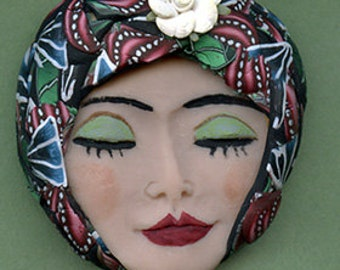 One of a kind *  Polymer Clay Detailed Art Doll face with Abstract Hat FAB 6