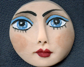 "Polymer Clay Detailed  Turquoise  Eyed  Face Cab  1  1/2""  NTF  1"