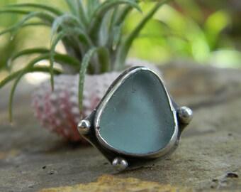 California Sea Glass Ring -  Pale Seafoam Aqua - Size 6 - sterling silver - Rustic