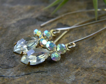 Vintage two stone earrings - crystal - gold filled earwires