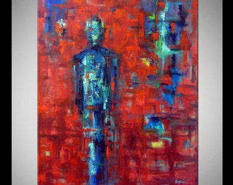 ABSTRACT Large Red Painting Contemporary Decor Art  - ORIGINAL Modern Artwork 48x36 by BenWill