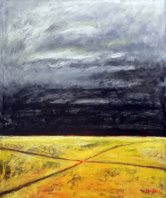 "36"" HUGE Abstract Painting ORIGINAL Modern Landscape Painting Yellow and Gray Contemporary Art, CROSSROADS 30x36 by BenWill"