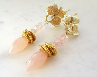 Rose Quartz Dew Drop Earrings. Gold Leaf Ear Wires. Pink Gemstone Earrings. Under 25. Gifts for Her.