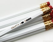 Pencil Set. Back to School. Mature. White Pencil Set. Crafty A** B*tch. Hot Foiled Stamped Pencil Set.