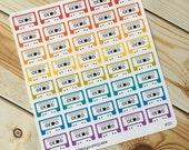 Cassette Tape Music 80's Stickers for Erin Condren Plum Paper Happy Planner (ID518)