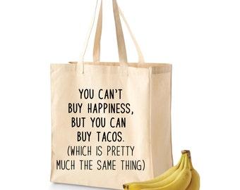 Grocery Tote | Grocery Bag | Reusable Grocery Bag | Taco Happiness | Cute Grocery Bag | Taco Tote