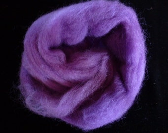 Corry X Hand Dyed Top for Felting Needle Felting Spinning Purple One Ounce