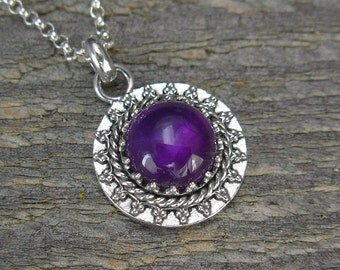 Amethyst Necklace - Small Amethyst Pendant on Sterling Silver Chain