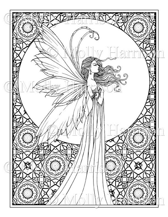 whispering wind coloring page printable fantasy fairy. Black Bedroom Furniture Sets. Home Design Ideas