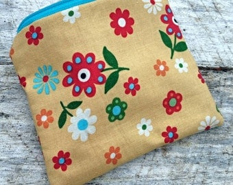 Yellow floral small zipper pouch. Coin purse.