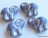 Elephant Bead - Czech Elephant Beads - Opaque Grey Silver Picasso Inlay (GG - 32)