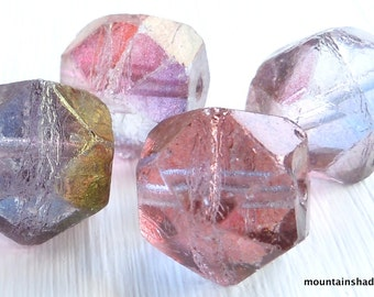 Amethyst Luster Czech Glass Beads 16mm English Cut - You Choose Quantity