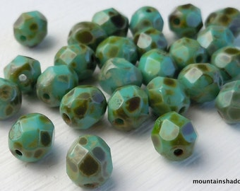 Turquoise Picasso Czech Glass Beads 6mm - 25 Perfect for Leather Wrap Bracelets (G - 492)