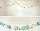 Extra Long Scrap Fabric Flag Bunting Garland - Over 10 feet - green, mint, blue