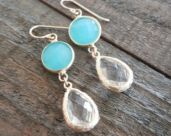 Mint Crystal Earrings, Dangle Earrings, Drop Earrings, Bridesmaid Earrings