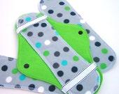 JazzyPads Cloth Menstrual Pad Set (Maxi lime teal black polka dots) by tamarack