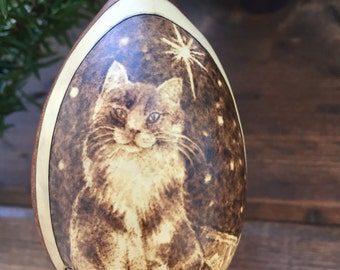 Christmas Cat in window Ornament egg gourd