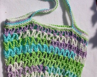 Purple, Green, White Market Bag, Tote, Beach Bag, Gym Carrier