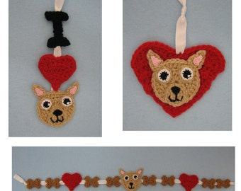 Crochet Pattern - Chihuahua Ornaments and Garland Crochet Pattern - Dog Ornament Pattern - Christmas Pattern - Digital Download