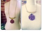 Brown Jasper Gemstone Crescent Moon Necklace - brass chain choker - Crescent Moon Gemstone Pendant Necklace