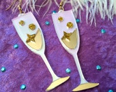 Champagne Flute Laser Cut Acrylic Earrings