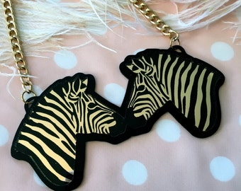 Glam Safari Black and Gold Zebra Acrylic Necklace