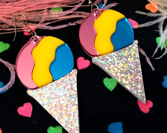 Rainbow Sno Cone Laser Cut Acrylic Earrings
